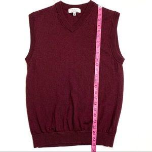 Men TURNBURY Gray 100/% Extra fine Merino Wool V-Neck Sweater XL--Brand New!!